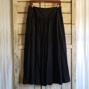 Laura Ashley Black Silk Skirt Gothic Witchy Sz 6